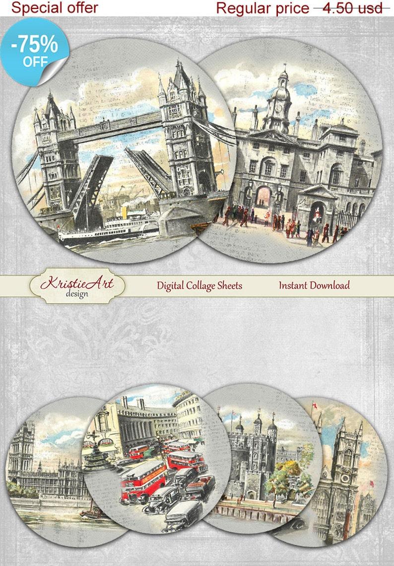 Digital cards C182 printable download tags digital London round image Travel atc card Vintage Digital Collage Sheet 75/% OFF SALE London