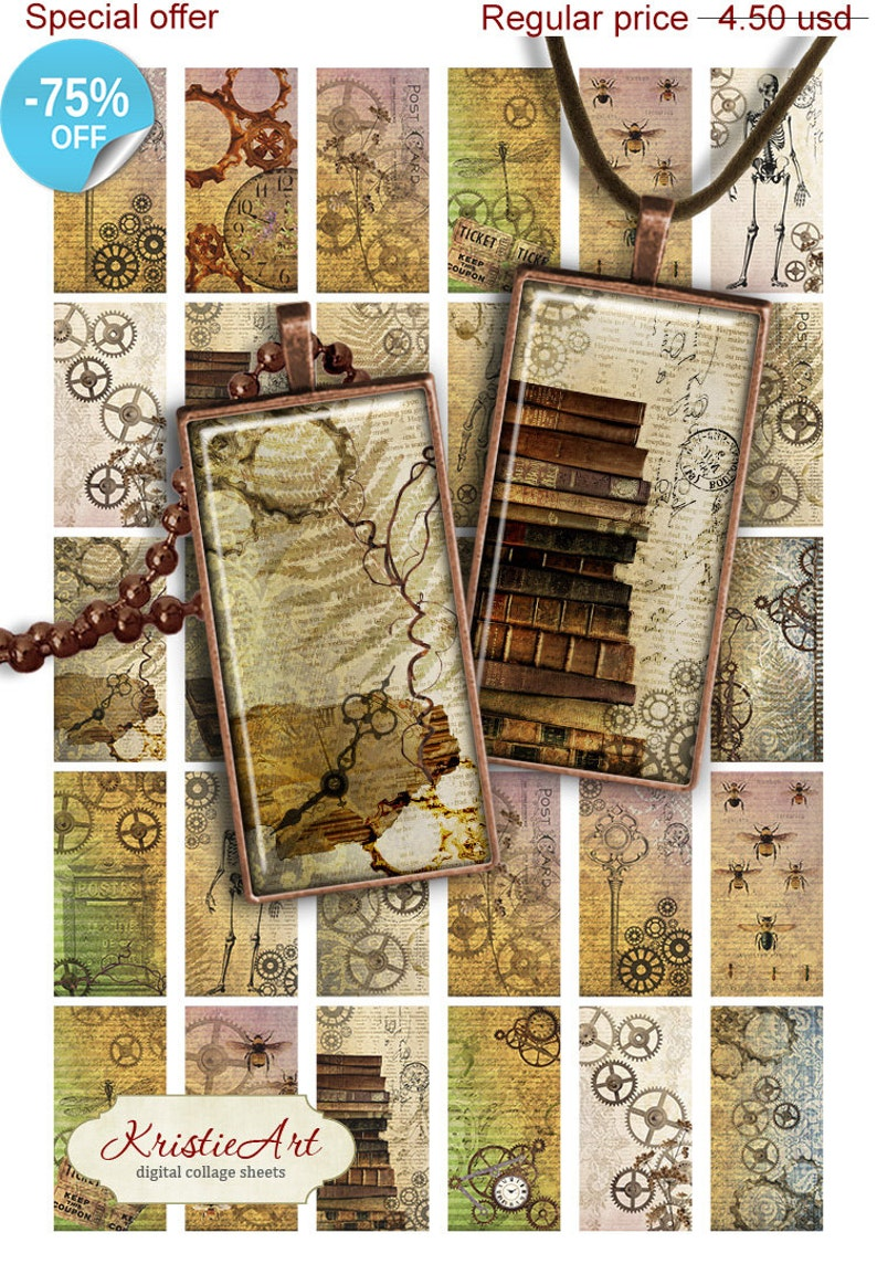 75% OFF SALE Steampunk Digital collage sheet PR003 printable image 0