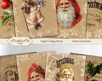 75% OFF SALE Christmas Greetings - Digital Collage Sheet Digital Cards C114 Printable Download Image Digital Atc Card ACEO Christmas Cards