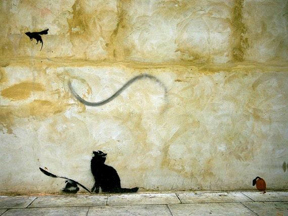 BANKSY Canvas Cat and Mouse Banksy Graffiti Wall Art Print