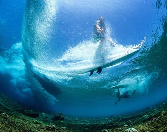Underwater Perspective of Surfer Through the Wave - Aquatics - Ready to Hang or Rolled Photo Canvas Art Print (D4060)