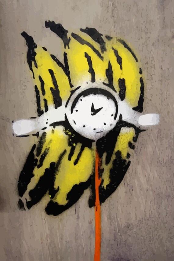 BANKSY Canvas Graffiti Banana Bomb Wall Art Print Gallery