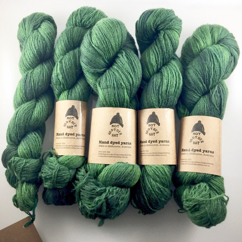 d957679d1f Green  knitting yarn  upcycled  hand dyed  repurposed