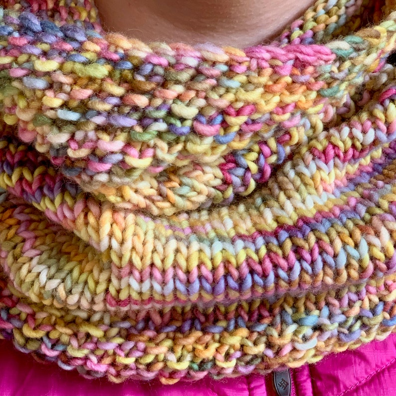 Knitting pattern cowl one skein project simple knit 10   Etsy