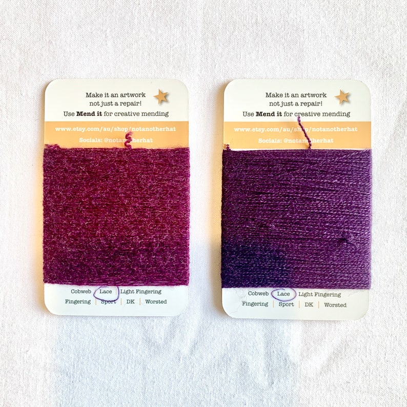 visible mending 10 purple repurposed zero waste Mending yarn hand dyed upcycled re-made the ultimate purple set assorted fibres