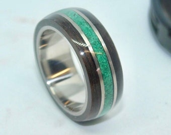 Titanium Wooden Rings - Bentwood Ebony Malachite Inlay Rings - Mens Wood Rings, Womens Wood Rings, Wood Engagement Rings, Wood Wedding Bands