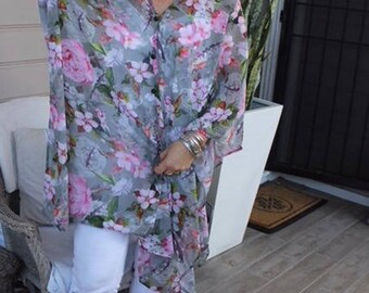 Grey and pink floral chiffon long open front blouse / beach top / kimono - Picnic in Paris