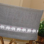 Charcoal Gray Burlap Half Chair Back Cover w Elephant Trim