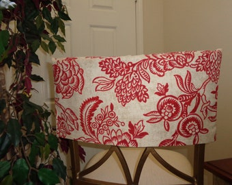 Superbe Half Chair Back Cover, Red U0026 Cream Flowered, Kitchen/Living/Dining Chair  Cover, Dorm Chair Cover, Bar Stools, Island Stool, Classroom Covers