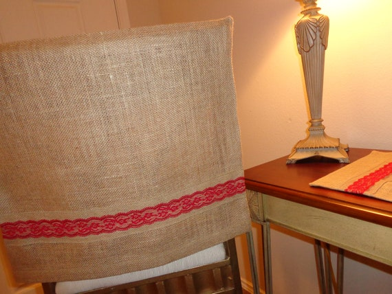 Awesome Burlap Jute Chair Back Cover W Red Lace Burlap Trim Bar Stools Kitchen Dining Chairs Desk Chair Island Stools Breakfast Bar Machost Co Dining Chair Design Ideas Machostcouk