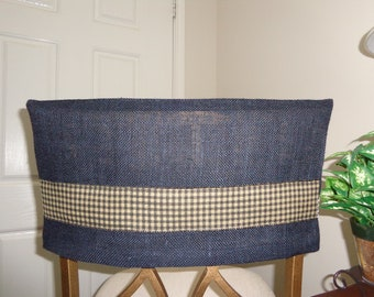 Black Burlap Half Chair Back Cover W/Tan U0026 Black Trim, Man Cave, Dorm Chair  Cover, Kitchen/Dining, Country Cottage, Bar Stools, Chair Caps