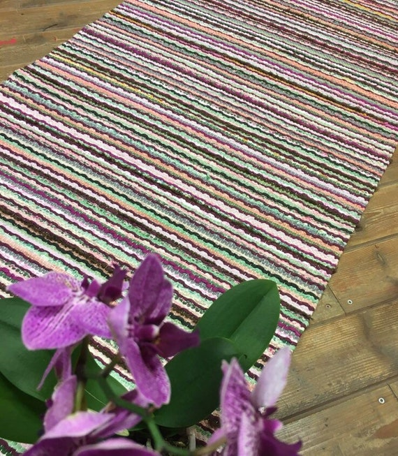 Pink Green Grey Lilac Long Rug Runner Recycled Cotton And