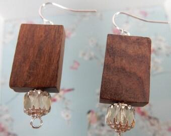 Wood Earrings, Natural Jewellery, Brown Earrings, Wooden Beads