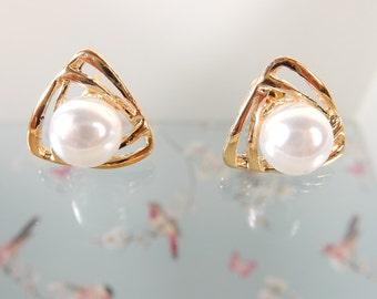 Faux Pearl Earrings, Cream Pearl Studs, Vintage Style Earrings, Classic Style Jewellery, Simple Earrings, Elegant Earrings