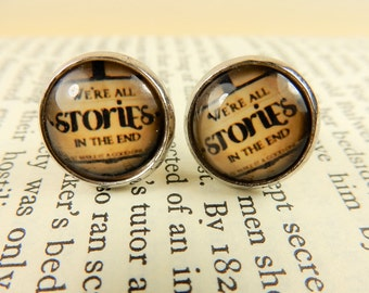 Doctor Who Earrings, Dr Who Studs, We're All Stories in the End, Doctor Who Studs, Silver Studs, Quote Earrings, Dr Who Jewellery