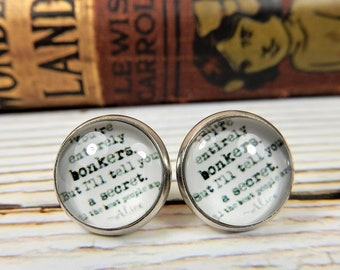Alice in Wonderland Earrings, You're Entirely Bonkers, Alice Quote Studs, Silver Plated Earrings, Alice in Wonderland Jewelry, Book Studs