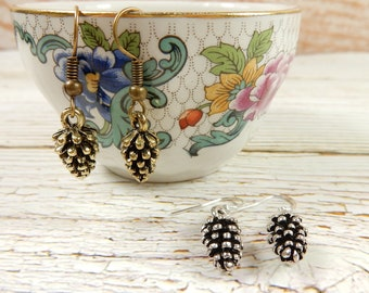 Pinecone Earrings, Bronze Pinecones, Silver Pinecone Earrings, Woodland Earrings, Gift for Her, Nature Earrings, Autumnal Jewellery
