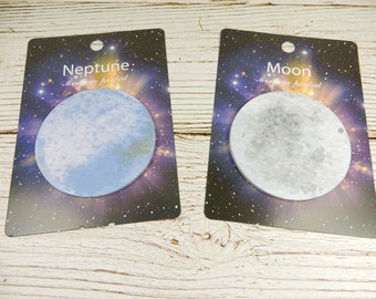 Space Post It Notes, Space Stationery, Moon Post Its, Neptune Notes, Planet Sticky Notes, Space Theme
