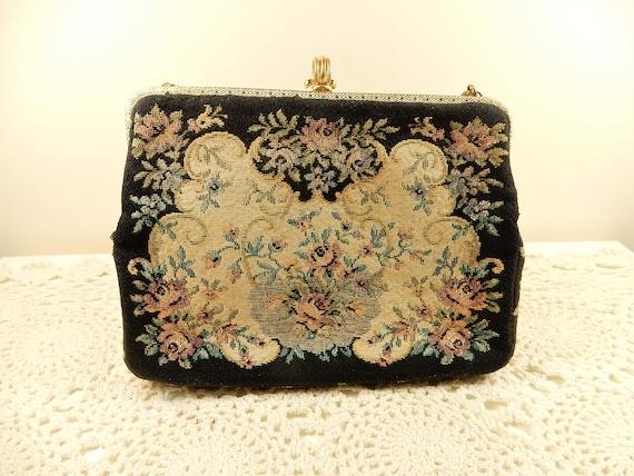 1950's Floral Evening Bag | Vintage Petit Point Ha