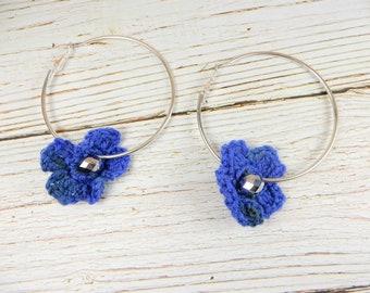 Blue Crochet Flower Hoop Earrings, Statement Earrings, Silver Hoop Earrings, Blue Flowers, Crochet Flowers, Floral Earrings, Flower Hoops