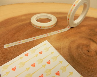 Mini Heart Arrow Washi Tape, Love Pattern, 5mm Japanese Tape, Red Hearts, Scrapbooking Decal