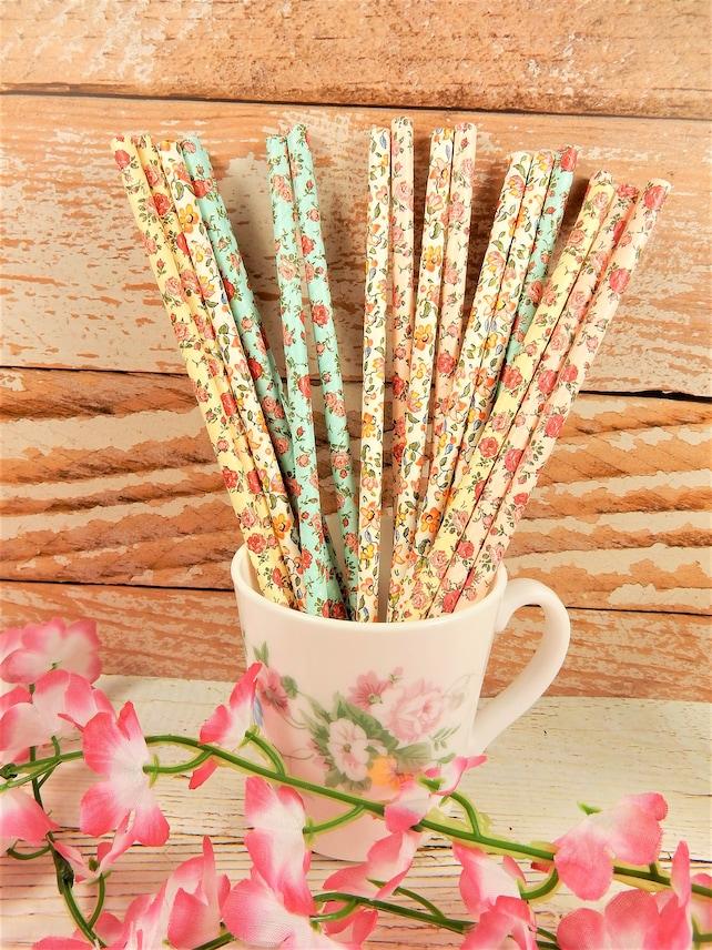 Floral Paper Straws, Biodegradable Straws, Flower Straws, Wedding Decor, Drinks Accessories, Tea Party, Eco Friendly, Vintage Style Straw