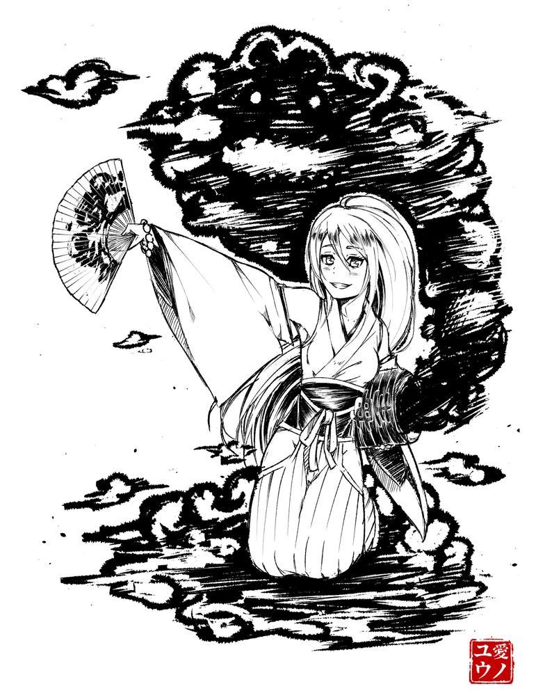 Custom black and white anime commissions full body