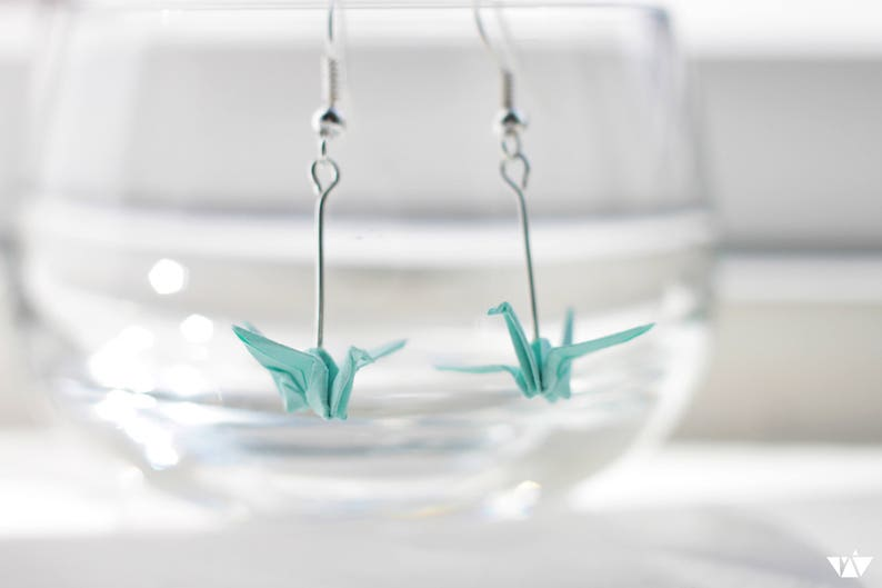 Origami Crane Earrings.Choose your own colour.Origami image 0