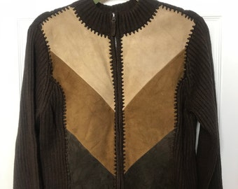 Medium leather front sweater