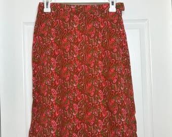 XS Pink and orange paisley skirt