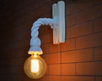 Lampada da parete fatta da una corda e invecchiato lampadina etsy