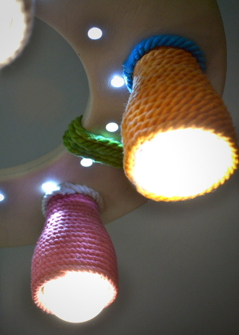 LED bulbs included Wooden chandelier for a child/'s room with color shades and LED dots