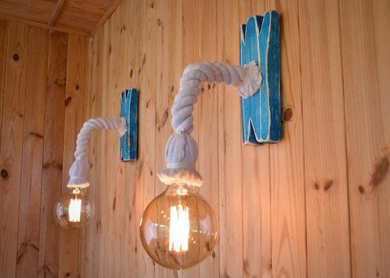 Applique da parete composta da una corda e invecchiato legno etsy