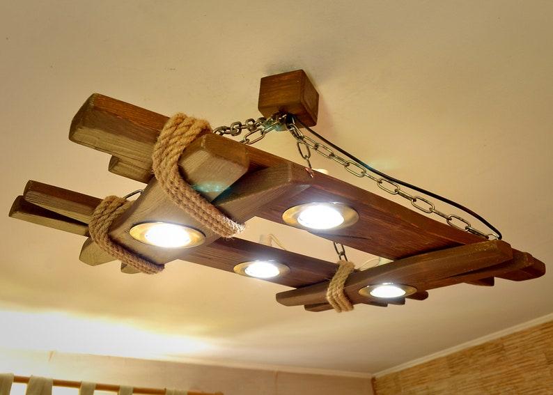Plafoniere Legno E Vetro : Lampadario in legno è fatto di naturale plafoniera etsy