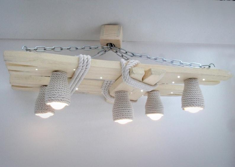 Plafoniera Con Luce Notturna : Lampadario in legno con macchie led e sfumature di corda etsy