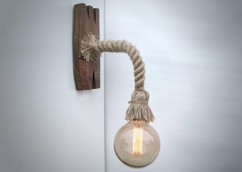 Applique da parete in corda e legno invecchiato lampadina etsy
