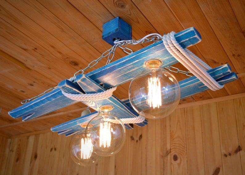 Plafoniere Rustiche Soffitto : Lampada da soffitto in legno è costituito catena acciaio etsy