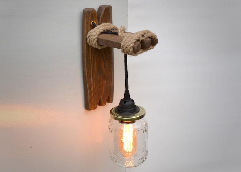 Lampada da parete da legno e canning jar applique in legno etsy