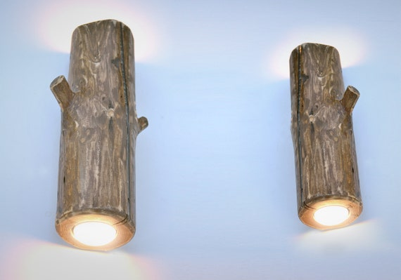 Pair Of Wooden Wall Lights Set Of Sconces Made Of Wood Log Etsy