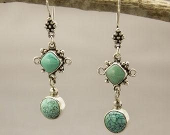 Turquoise Earrings, Gemstone Earrings, Silver Earrings, Boho Earrings, Turquoise Jewelry, Dangle Earrings, Drop Earrings, Sterling Silver