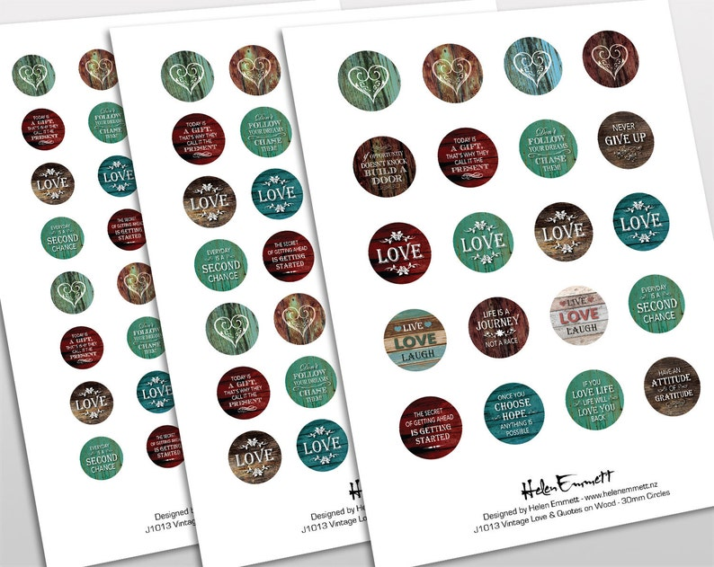 1 inch Digital Collage Sheet for Bezel Cabochon Pendants 30mm /& 20mm circles 25mm Crafts Inspirational Love Quotes on Wood