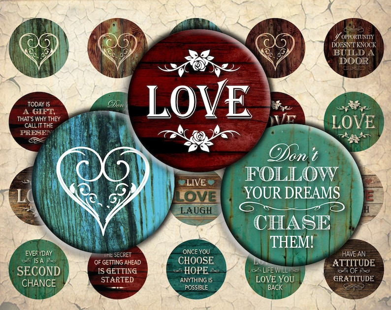 Inspirational Love Quotes On Wood 30mm 25mm 1 Inch 20mm Etsy