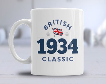 85th Birthday 1934 Coffee Or Tea Mug For Men Women Gift Idea Classic British American Keepsake Present 85 Year Old