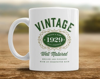 90th Birthday 1929 Coffee Or Tea Mug For Men Women Gift Idea Vintage Bourbon Keepsake Present 90 Year Old
