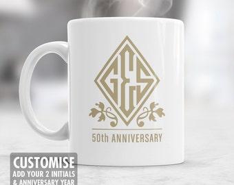 Personalized 50th Wedding Anniversary, Monogram, Gold Wedding, 50th Wedding Gift, 50th Anniversary, 50 Year Anniversary, 50th Wedding Idea