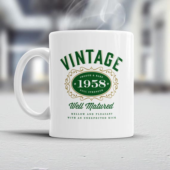 60th Birthday Gift Gifts For Men Women 1958 Vintage Bourbon Coffee Mug Top Christmas