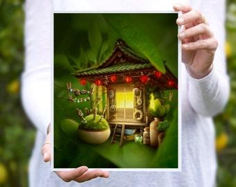 Fantasy Forest Print, Digital Illustration, Home Decor, Nursery Decor, 8x10 inches