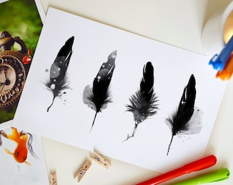 Large Feather Postcard, Fantasy Postcard, Nursery Decor, Home Decor, Invite - 8.5 x 5.5 inches