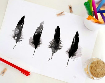 Special Edition Feathers Print, Fantasy Feather Art Print, Black & White, Home Decor, A4. 29.6 x 20.7 cm