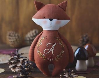 Personalized handmade fox - Cloth fox - Stuffed fox - Fox doll - Forest decor - Fox toy - Stuffed fox for baby - Personalized baby gifts